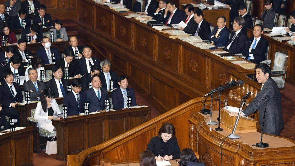 Prime Minister Shinzo in parliament