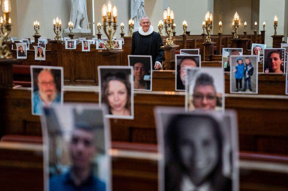 Church in Copenhagen filled with photos of worshippers
