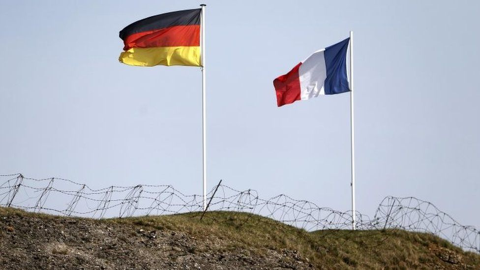 German and French flags fly on top of Fort Douaumont, near Verdun (March 2014)