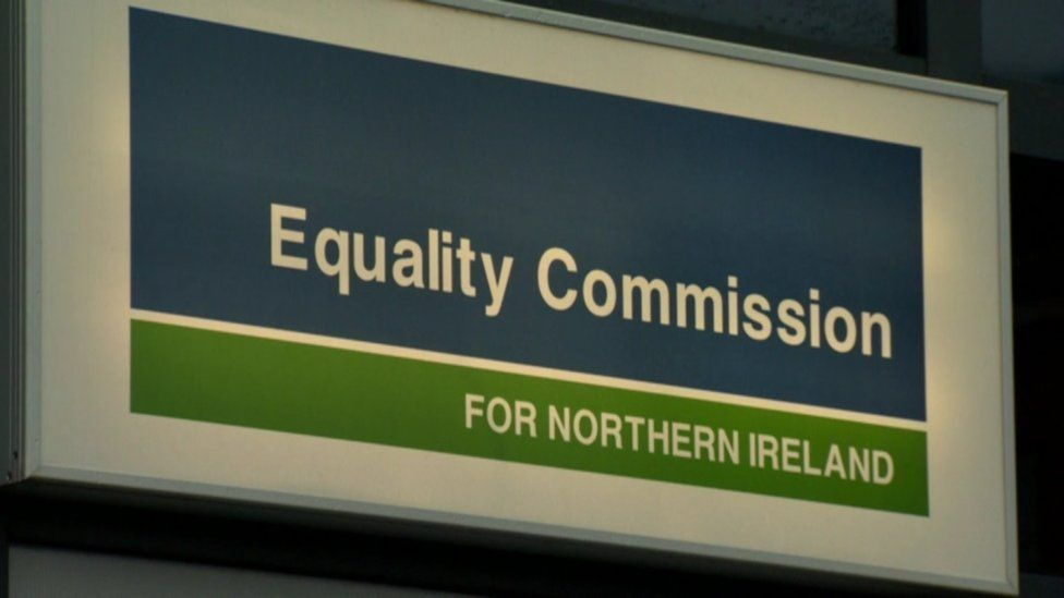 A sign at the headquarters of the Equality Commission