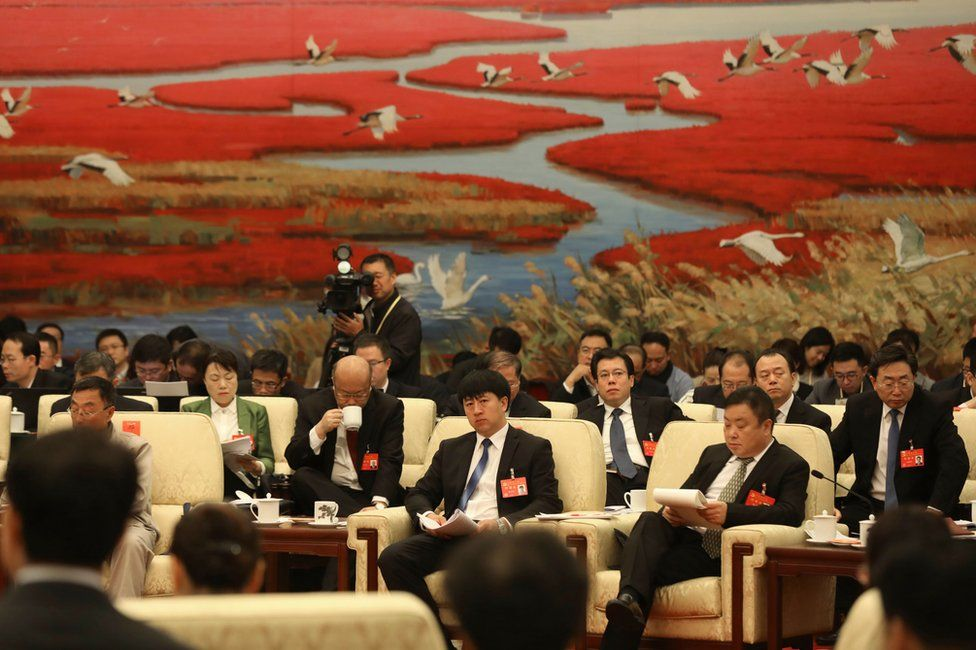 Chinese delegates attend the open delegation discussions of the 19th National Congress of the Communist Party of China (CPC) at the Great Hall of the People (GHOP) in Beijing, China, 19 October 2017.