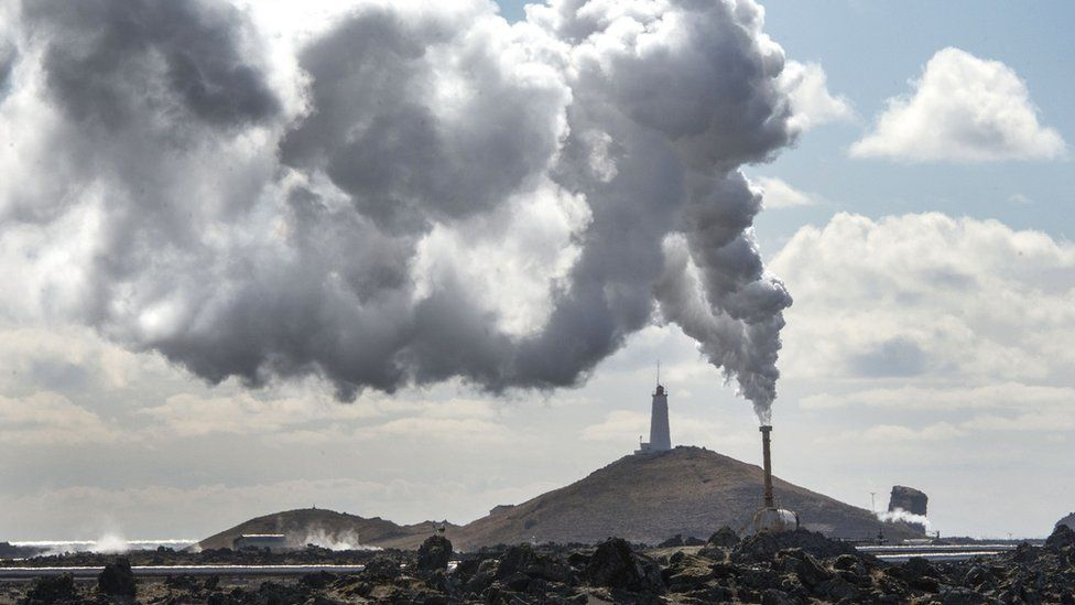 A geothermal energy plant in Iceland