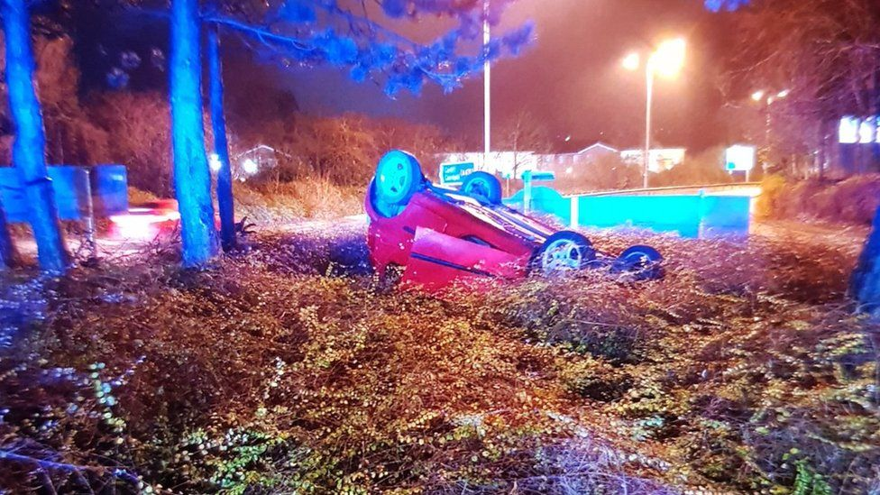 A woman was arrested for drink-driving after crashing on this roundabout