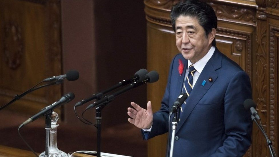 Shinzo Abe speaking in parliament earlier this month