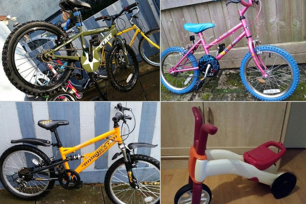 Assortment of children's bikes recycled by Mike Jones