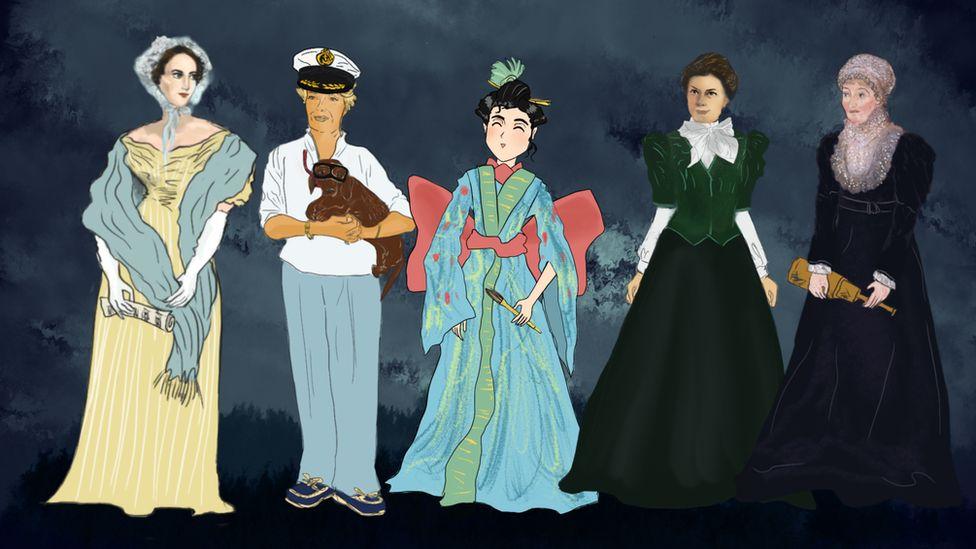 Fanny Mendelssohn, Simone Cousteau, Katsushika Oei, Mileva Einstein, Caroline Herschel