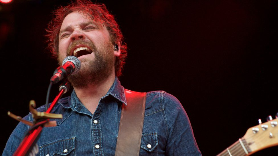 Lead Singer Scott Hutchison peforms with the band Frightened Rabbit at The Greek Theatre