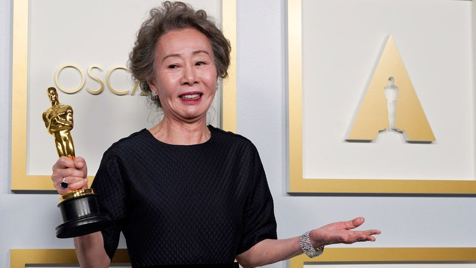 Yuh-Jung Youn with her Oscar