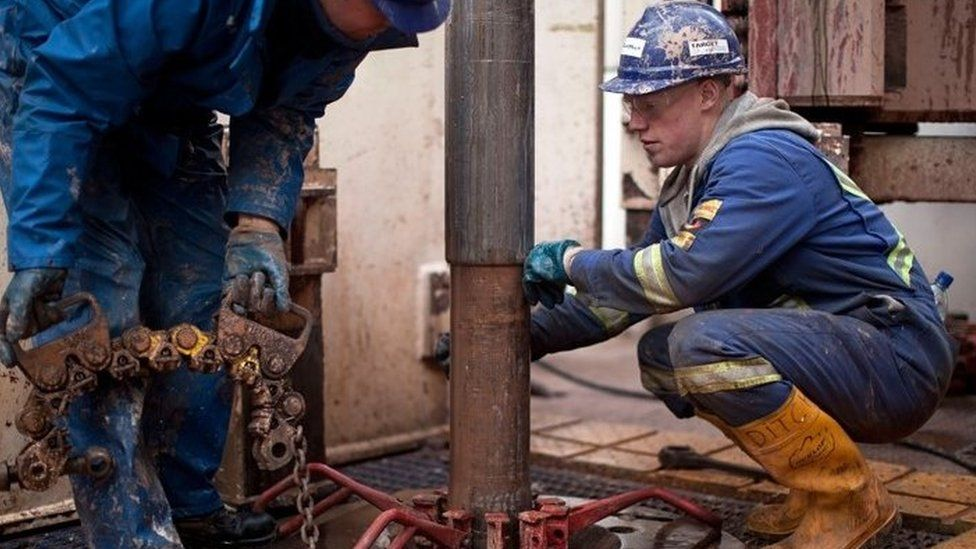Engineers on the drilling platform at a shale fracking facility in Preston, Lancashire