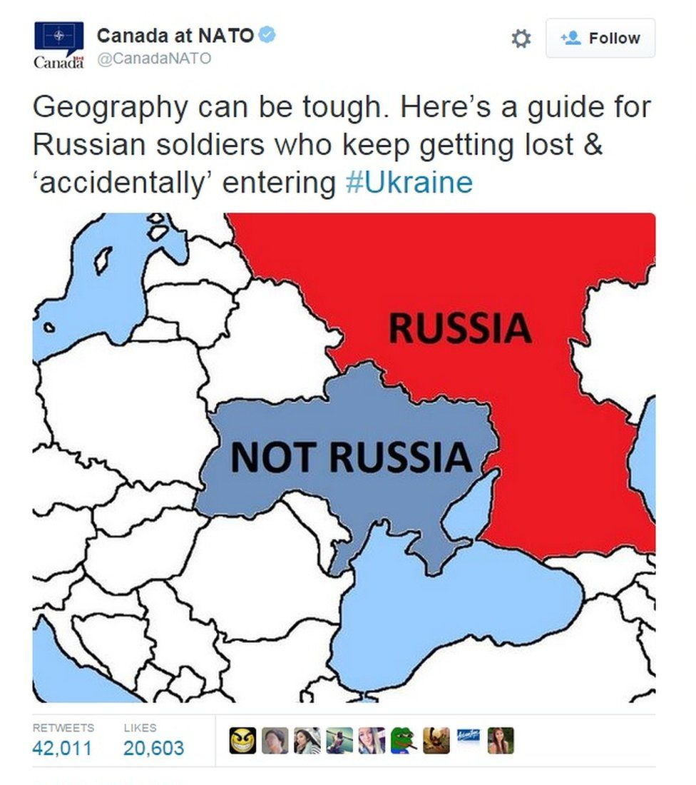 """Screen grab of a tweet showing a map of Russia, and Ukraine next to it captioned """"Not Russia"""""""