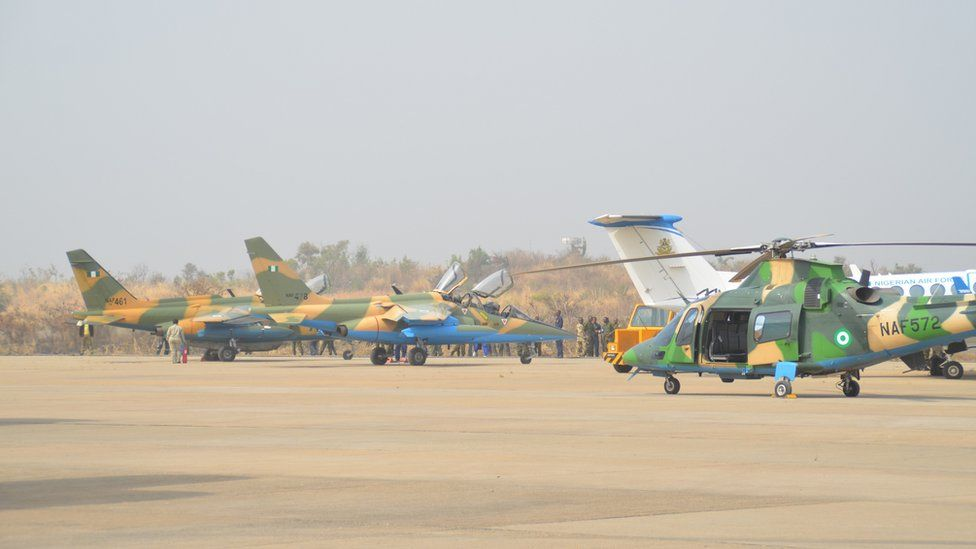 Nigerian Air Force helicopter and plane