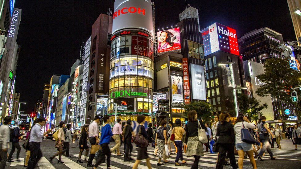 Street scene of Ginza, a key business district in Tokyo