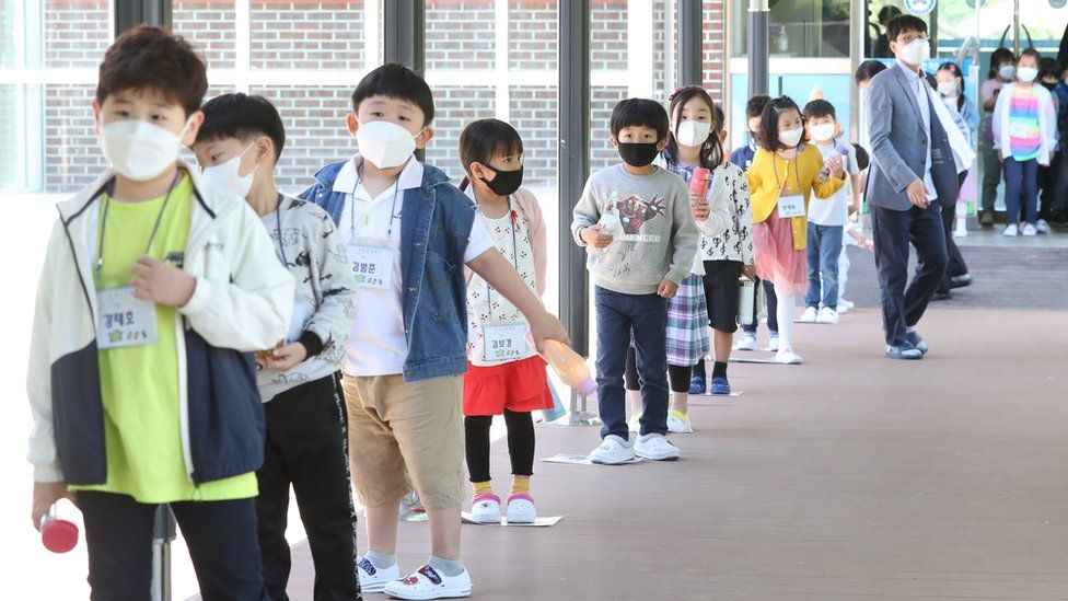 Students line up at a school in South Korea