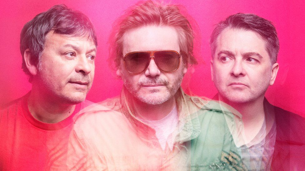 The Manic Street Preachers are Nicky Wire (centre), James Dean Bradfield (left) and Sean Moore