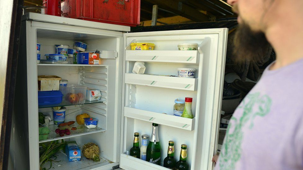 Man opens a refrigerator in Germany 2012