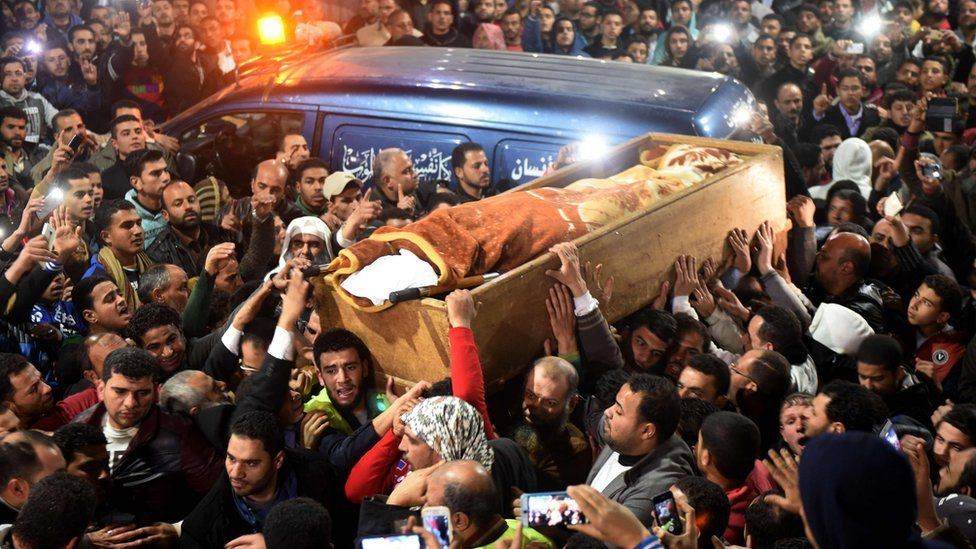 Mourners carry the coffin of Omar Abdel Rahman aka the Blind Cheikh, an Egyptian jihadist spiritual leader linked to the 1993 World Trade Centre bombing, who died serving a life sentence in the US - Wednesday 22 February 2017