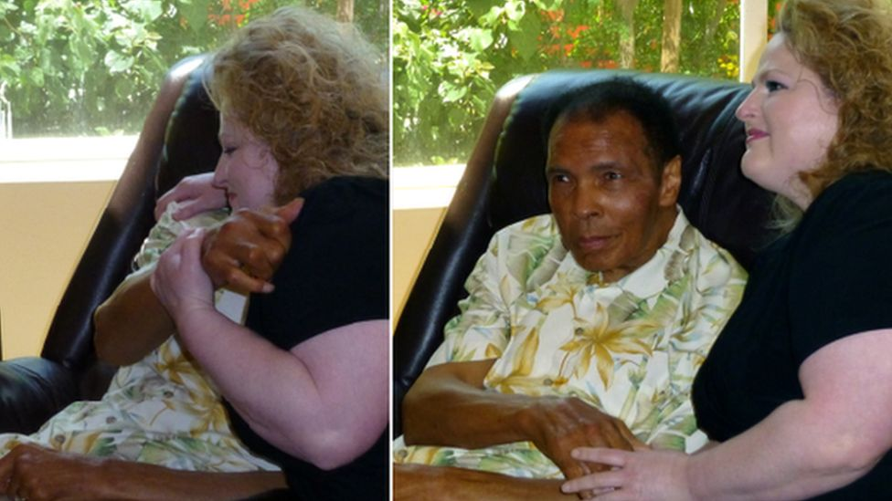 Muhammad Ali hugs Stephanie Mead at their final face to face meeting in 2014. She continued to write to him right up until his death.