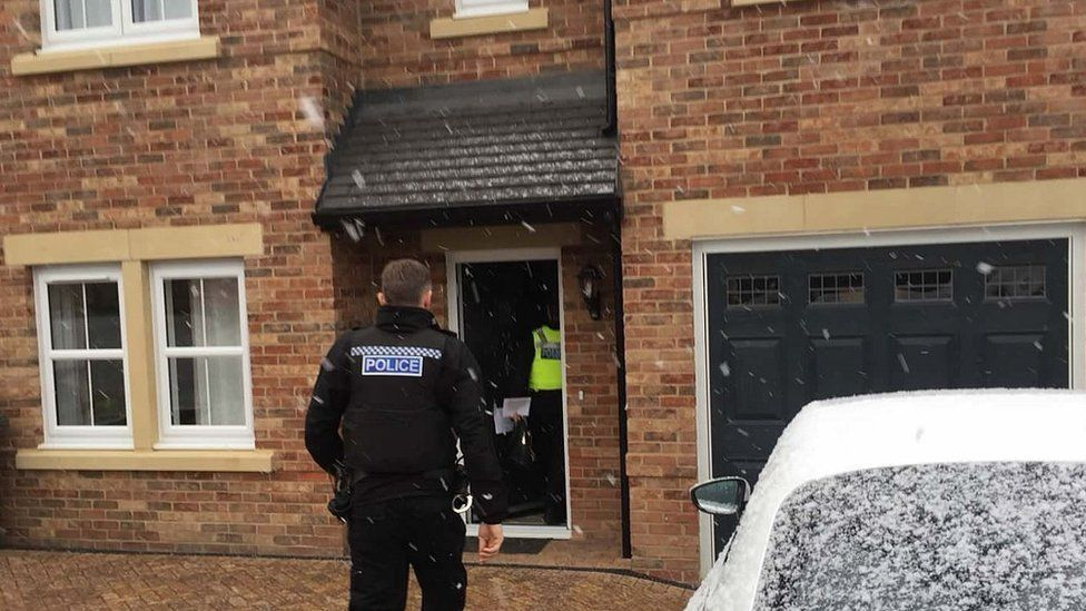 Officers carry out one of the raids in February 2018