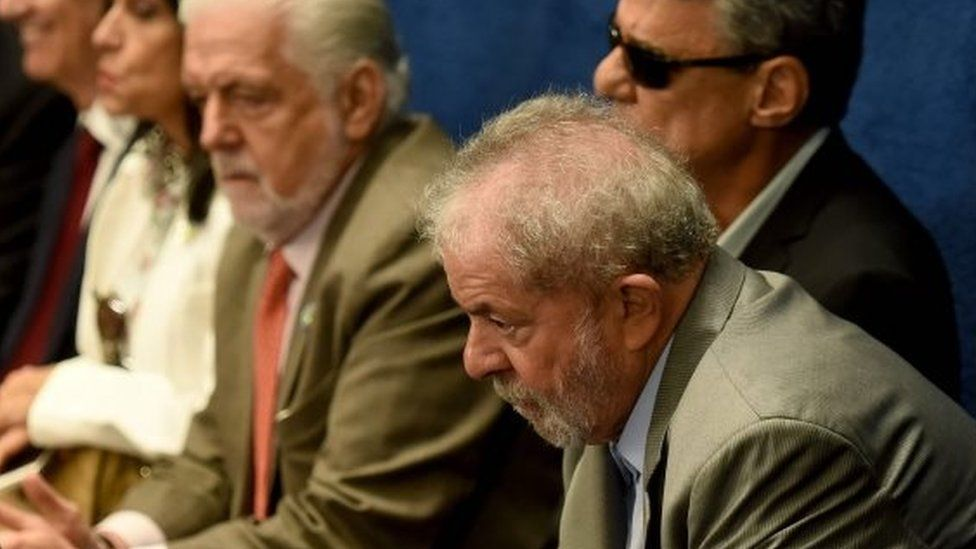 Former Brazilian President Luiz Inacio Lula da Silva attends the testimony of suspended Brazilian President Dilma Rousseff during her impeachment trial at the National Congress in Brasilia on August 29, 2016.