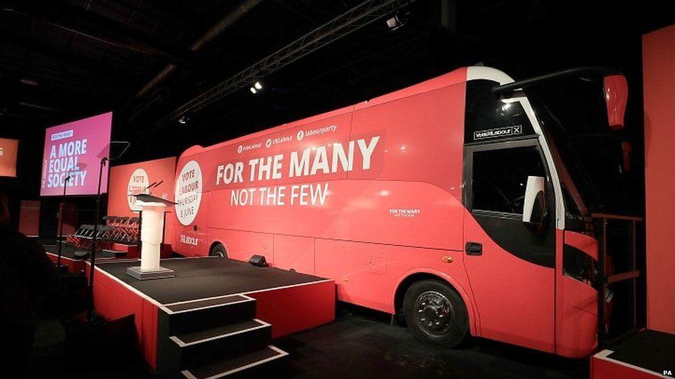 A miniature battle bus at Labour's campaign launch
