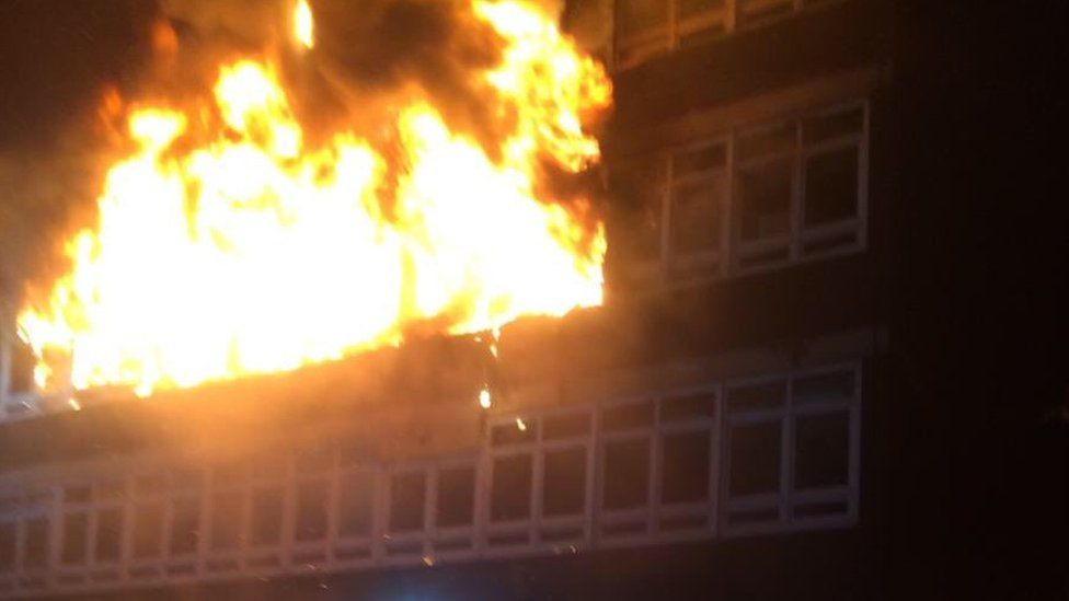 Mid and West Wales Fire Service deputy chief fire officer Mick Crennell tweeted there were 100 firefighters at the scene