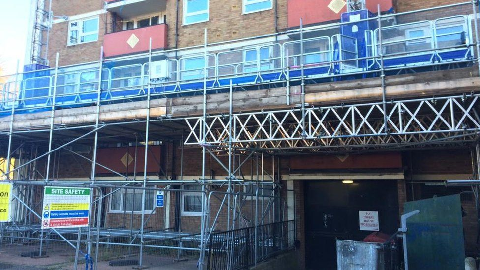 Work being carried out in flats
