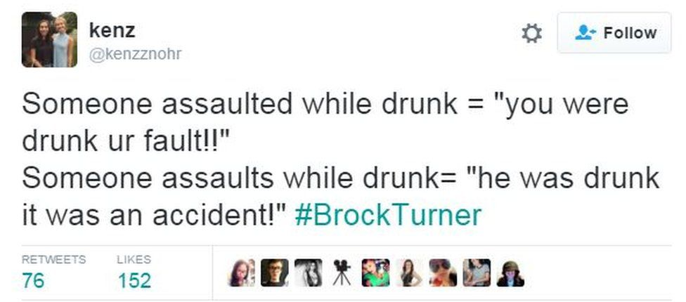 """Screen grab from Twitter user Kenz reads: """"Someone assaulted while drunk = 'you were drunk, your fault!'; Someone assaults while drunk = 'he was drunk, it was an accident!'"""""""