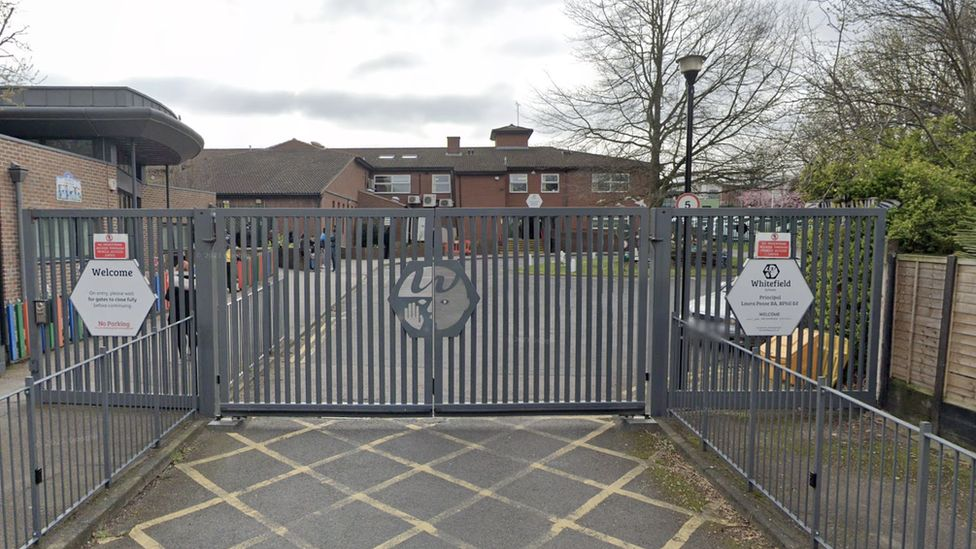View of Whitefields School from outside the gates