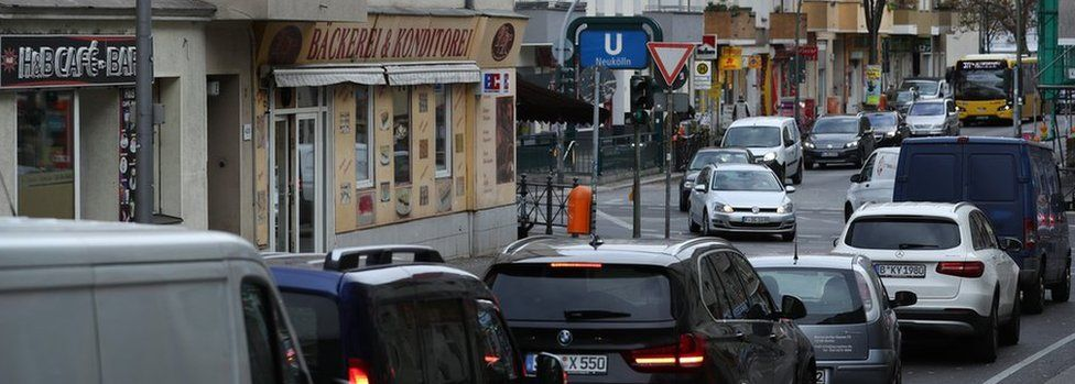 Traffic queues at an intersection on Silbersteinstrasse street in Neukoelln district on October 26, 2018 in Berlin, Germany