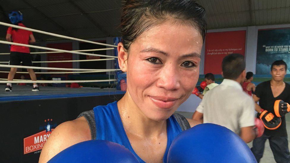 Mary Kom at her boxing academy in Imphal, Manipur