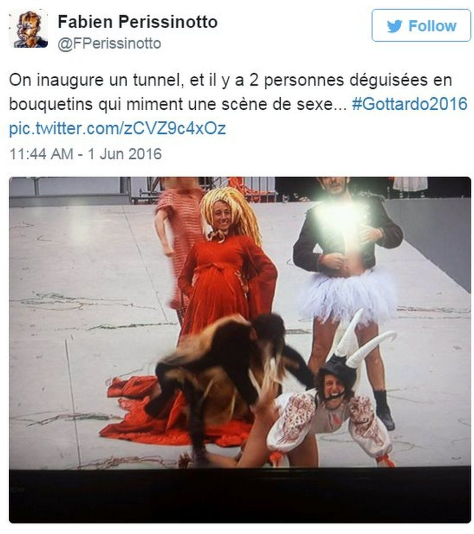 "Tweet saying: ""We're opening a tunnel , and here are two people dressed as ibex pretending to have sex"""