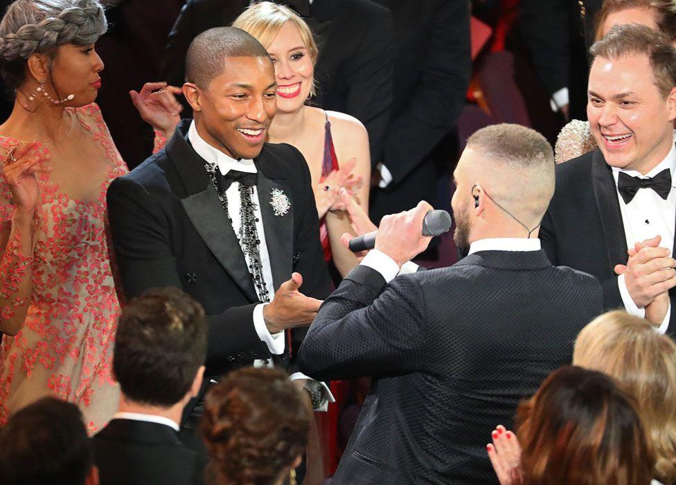 Justin Timberlake with Pharrell Williams