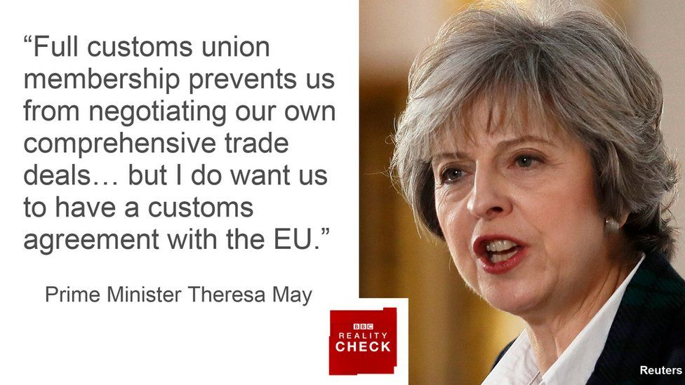 Theresa May saying: Full customs union membership prevents us from negotiating our own comprehensive trade deals… but I do want us to have a customs agreement with the EU.