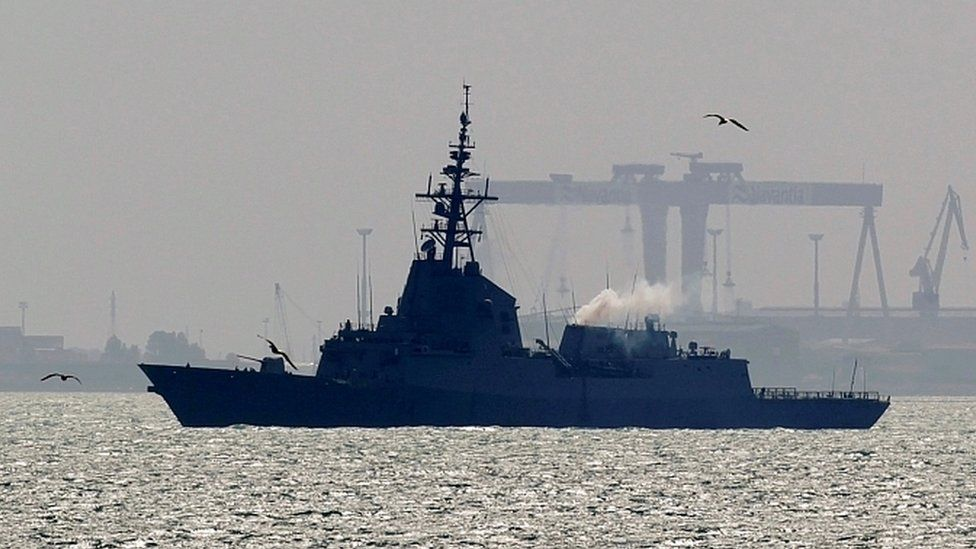 File image of Spanish frigate Mendez Nunez in Rota, southern Spain