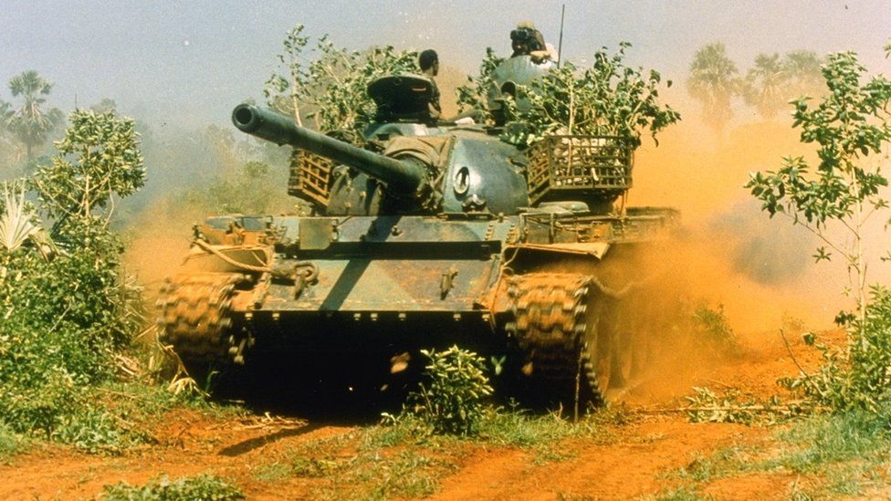 A Sri Lankan army tank in 1995 during the civil war