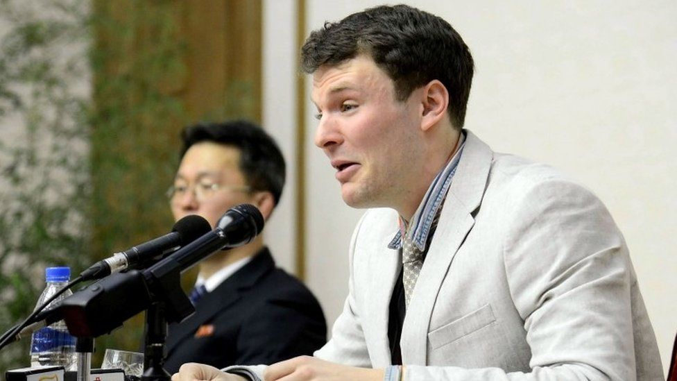 Otto Warmbier at press conference in Pyongyang (29 Feb 2016)