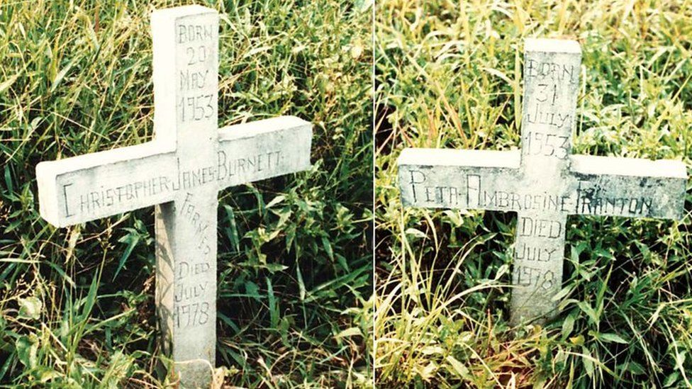 The graves of Chris Farmer and Peta Frampton in a photo from 1984
