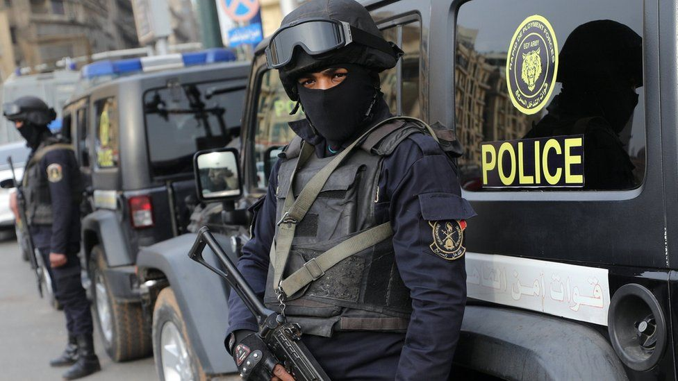 Egyptian members of security forces stand guard on the sixth anniversary of the 2011 uprising, at Tahrir Square in Cairo, Egypt, January 25, 2017