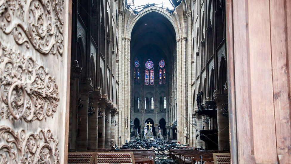 Notre Dame Fire Images Show Damage To Cathedral S Interior Bbc News