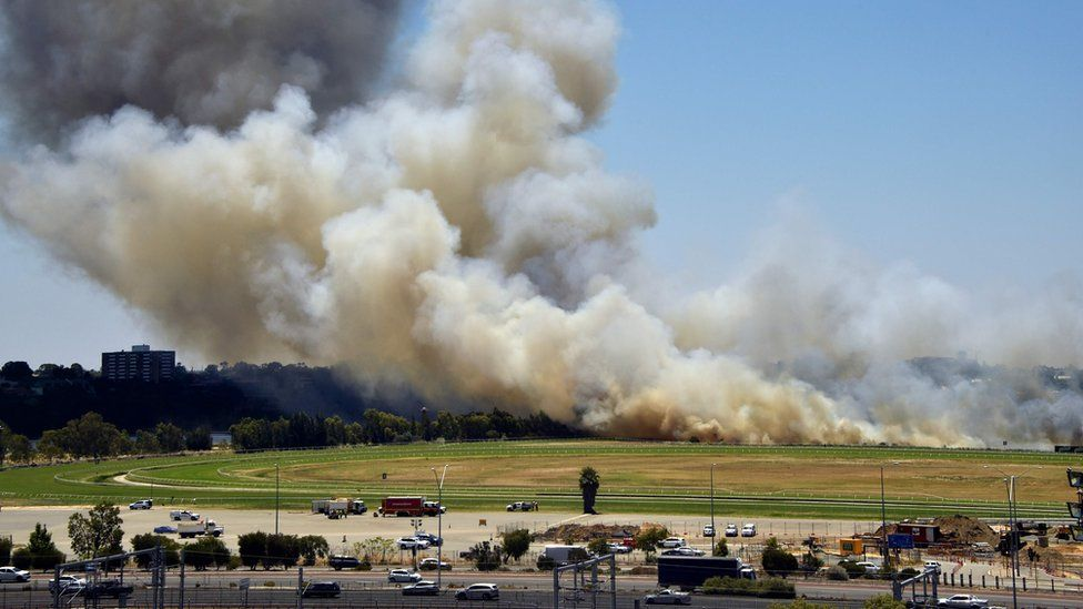 A bushfire outside the Perth Stadium, WA