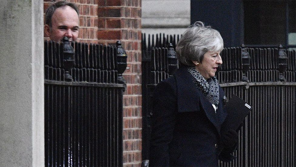 Theresa May leaves the back entrance of No 10 on 14 January