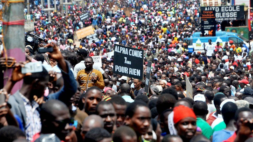 Thousands of supporters of the opposition in Guinea demonstrate in Conakry on 2 August to demand local elections be held after a 12-year absence