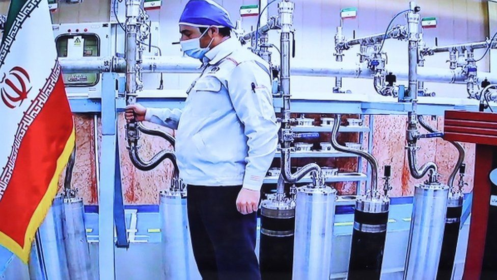 An Iranian government handout showing work at the Natanz nuclear facility