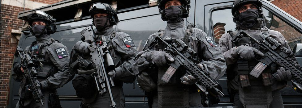 British police officers trained to tackle terrorism