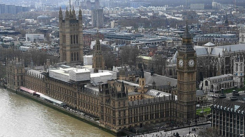 Aerial view of Palace of Westminster