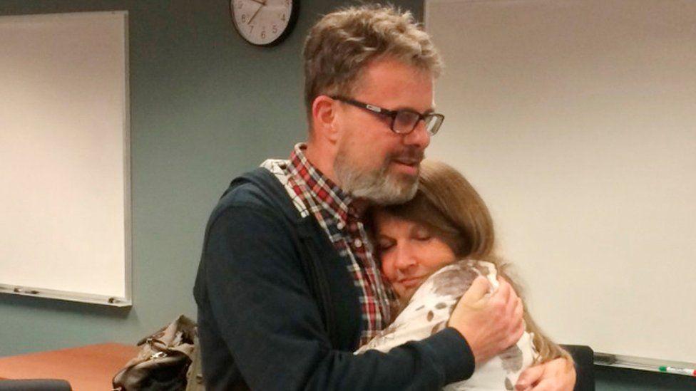 Kevin Garratt is reunited with his wife Julia Garratt in Vancouver