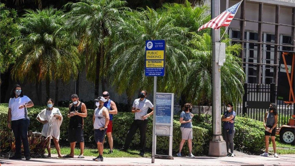 People wait to be tested in Florida