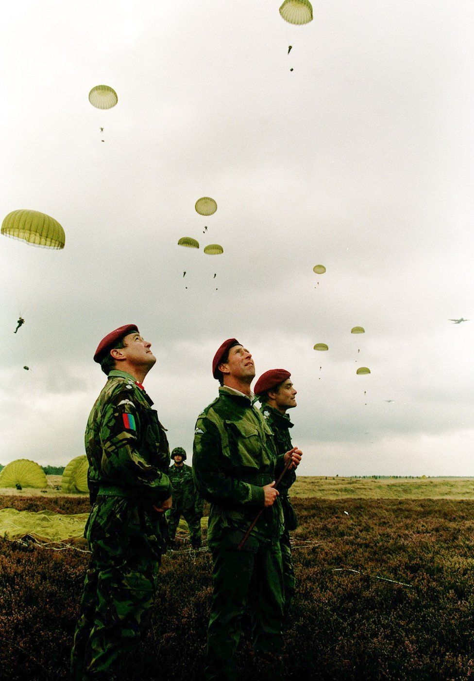 Prince of Wales watching as British paratroopers fall during the drop on Ginkel Heath