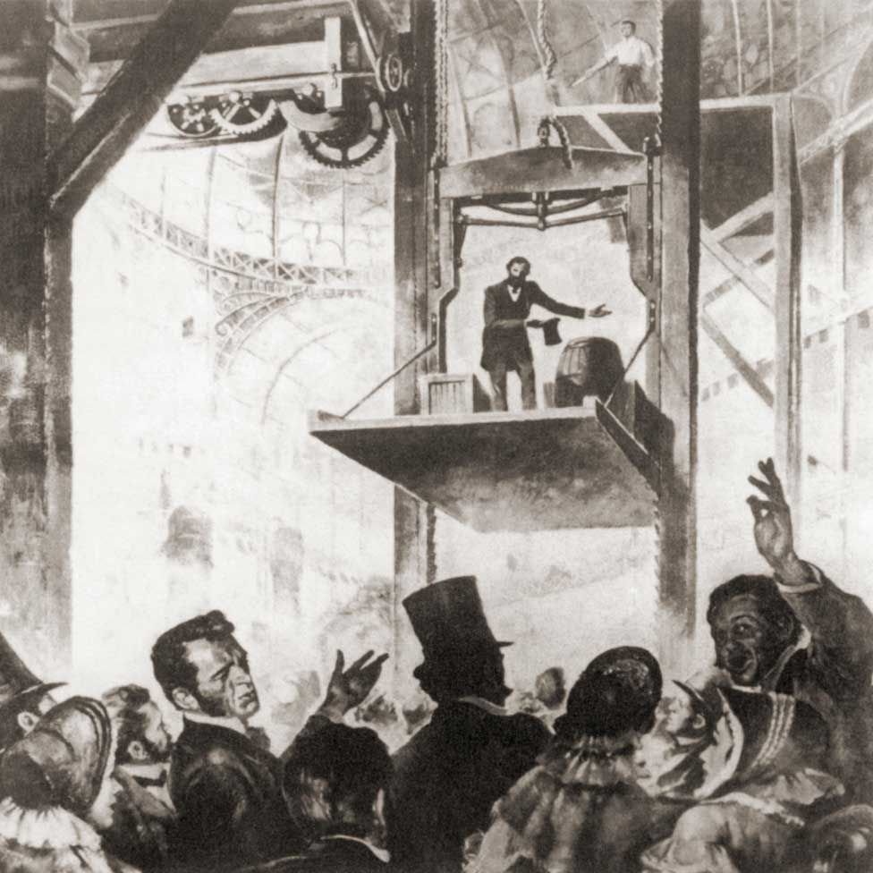 Elisha Graves Otis demonstrating his patent safety lift at the 1854 New York World's Fair