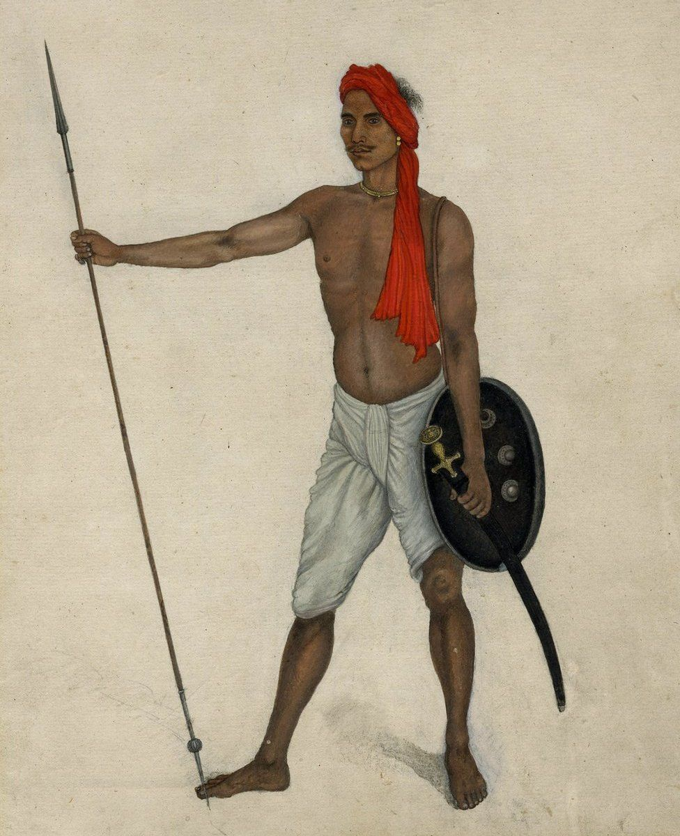 Indian trooper holding a spear by Ghulam Ali Khan, 1815-186